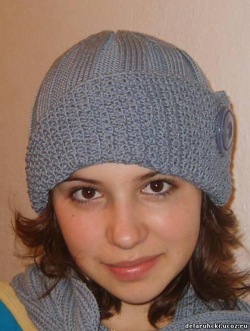 схема вязания шапки с отворотом.